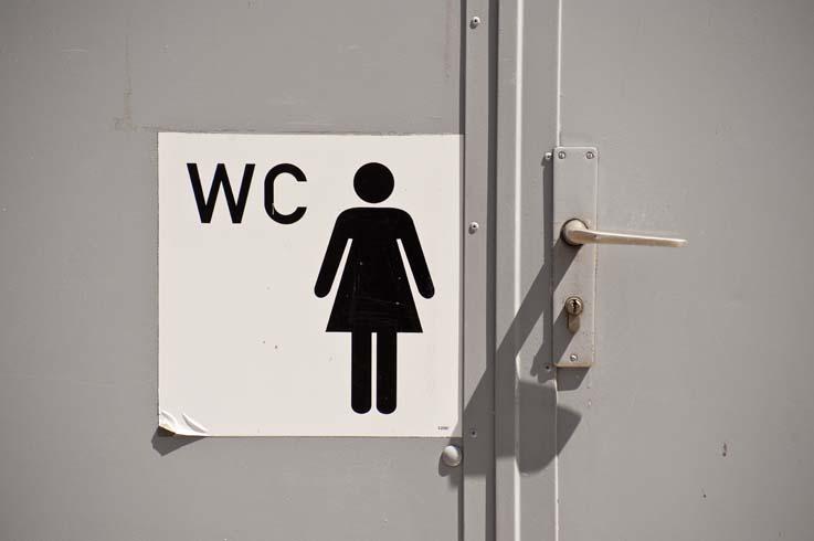 Close up of a toilet door